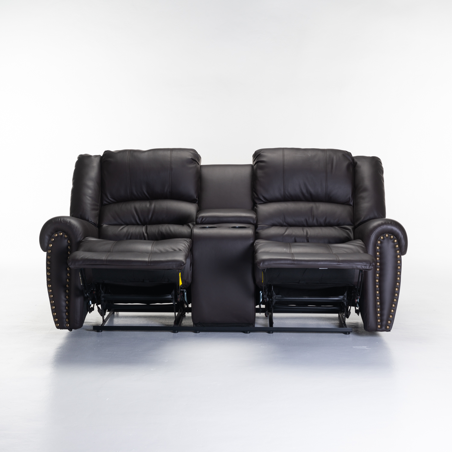 GINO BONDED LEATHER UPPER 2 SEATER WITH CONSOLE