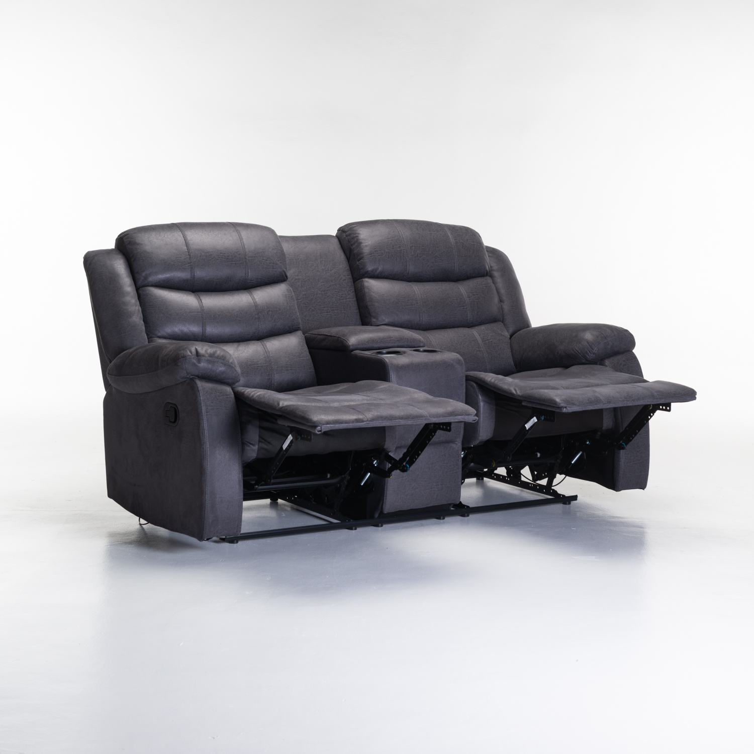 Yuzi Luxury Fabric 2 Seater with Console Recliner