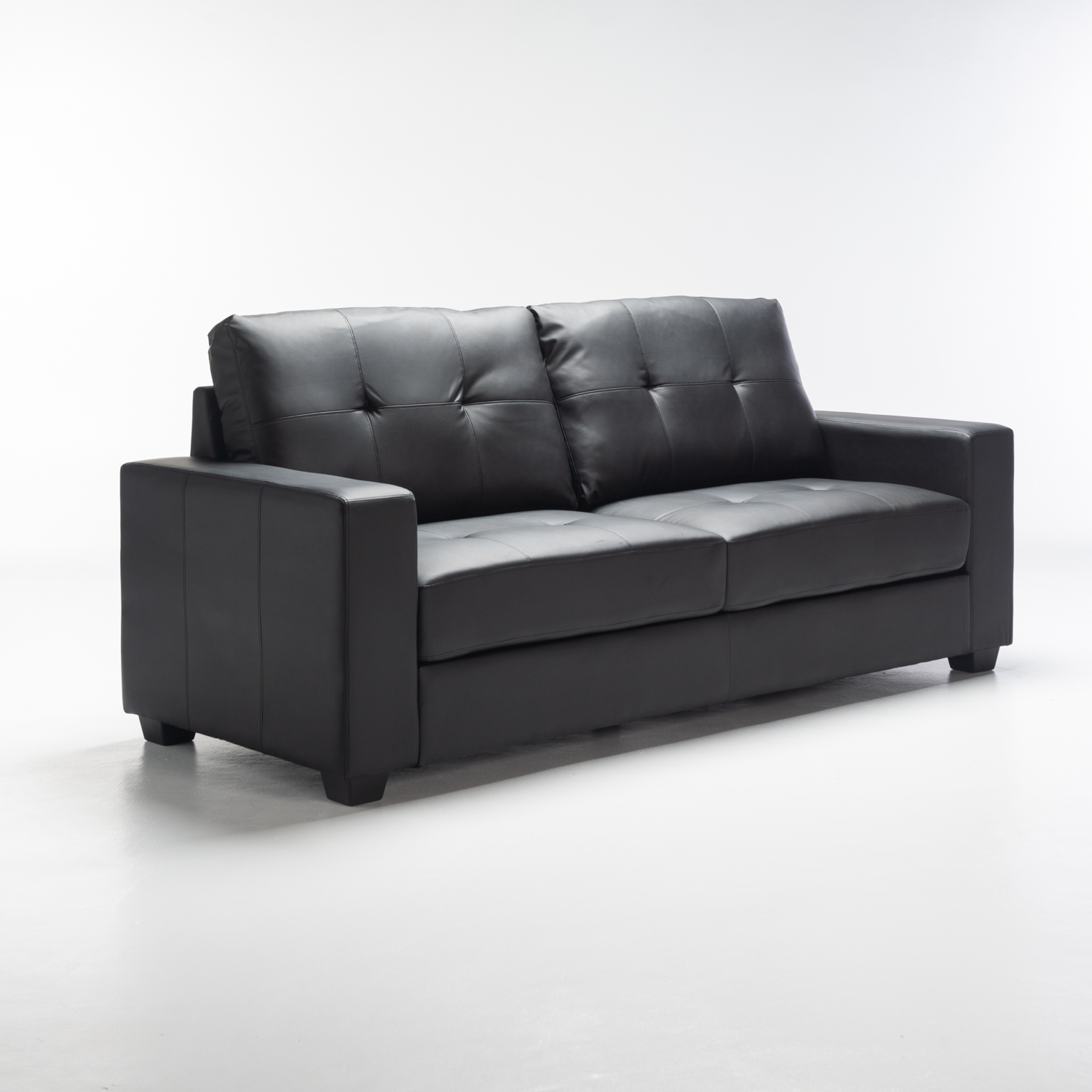Astra Leather Touch 3 Seater - Black