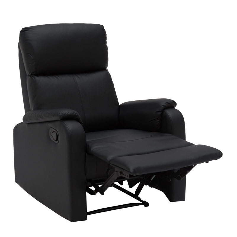 BO LEATHER TOUCH ARMCHAIR RECLINER BLACK RECLINED 1