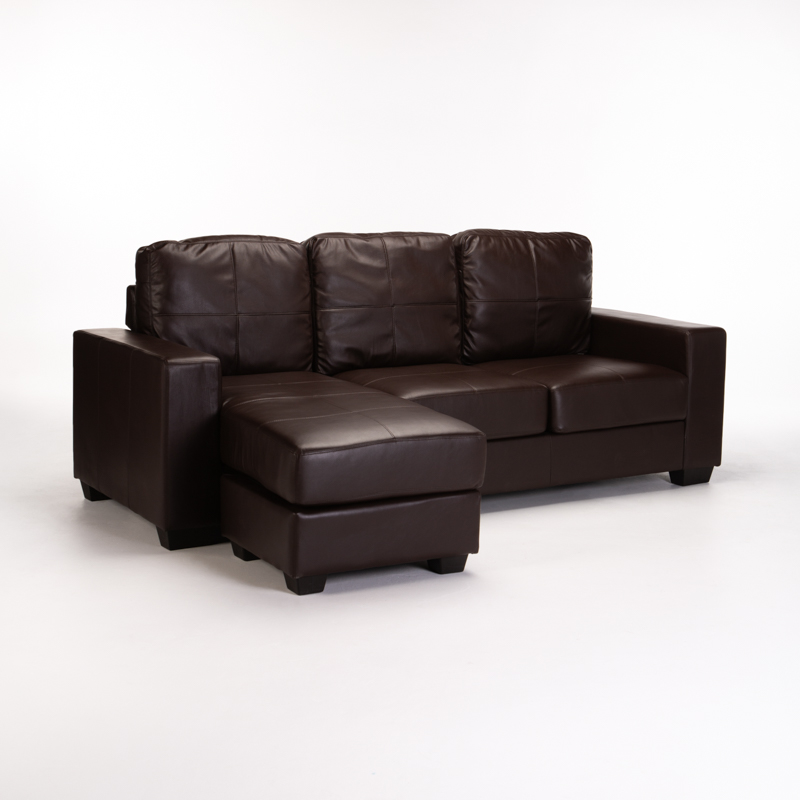 Gina Leather Air Corner Chaise - Brown