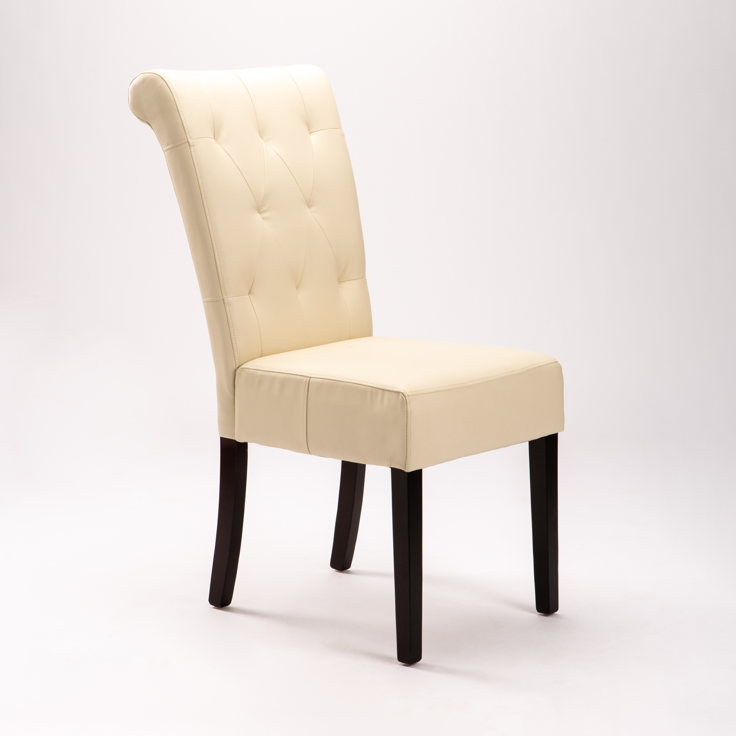 Chesterfield Leather Touch Dining Chair - Cream