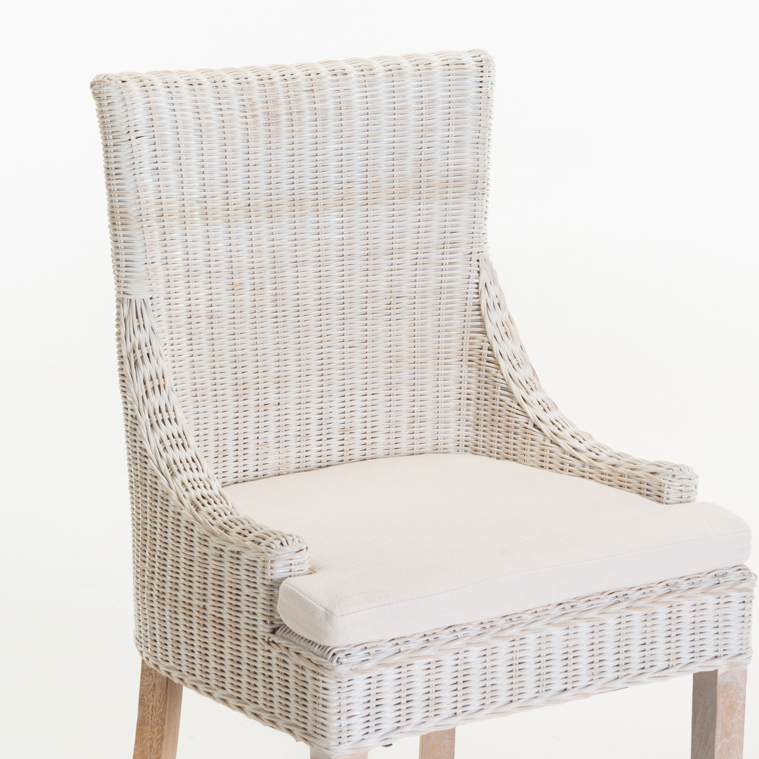 JUNI RATTAN WHITEWASH DINING CHAIR