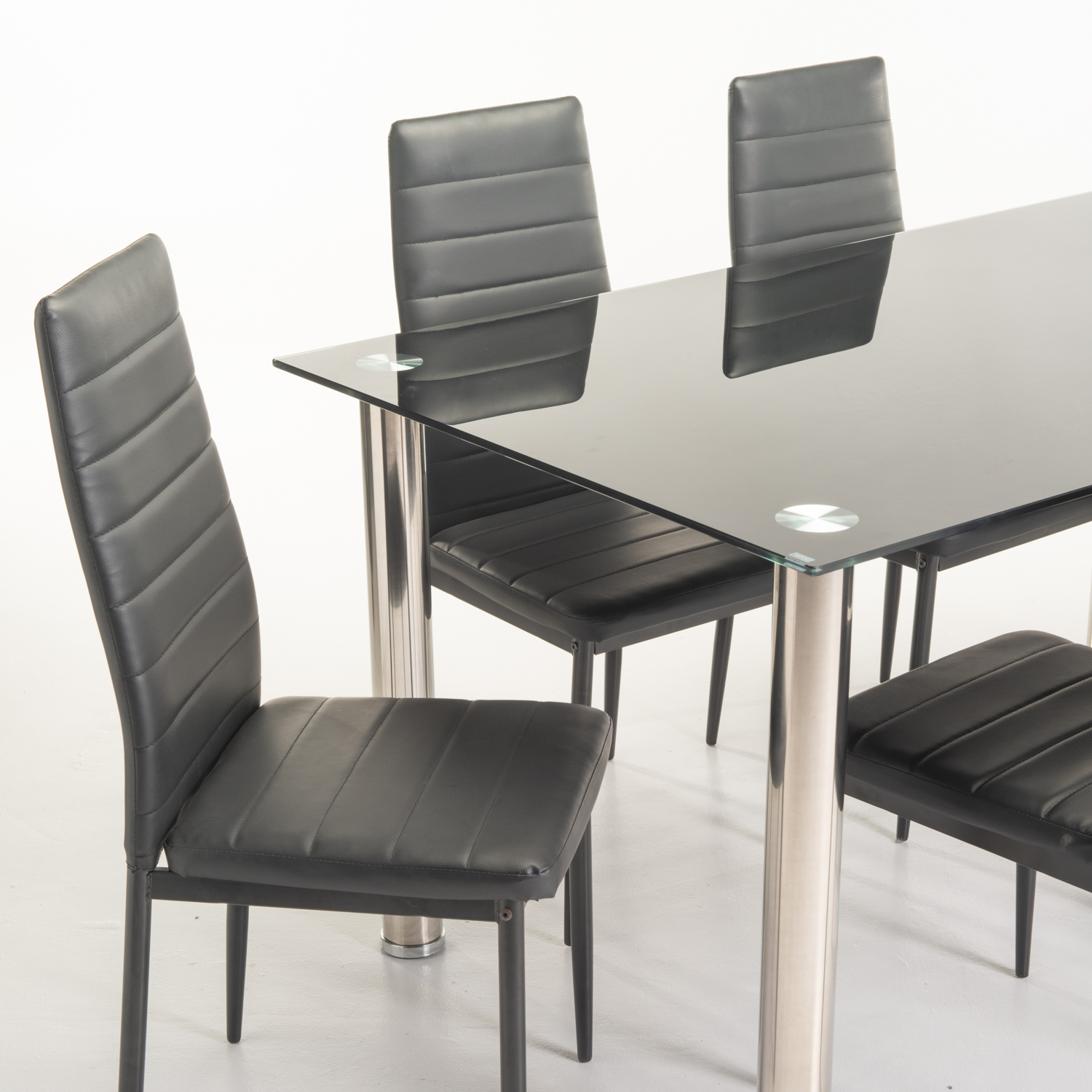 DIOR GLASS DINING TABLE & 6 X BENNY DINING CHAIR