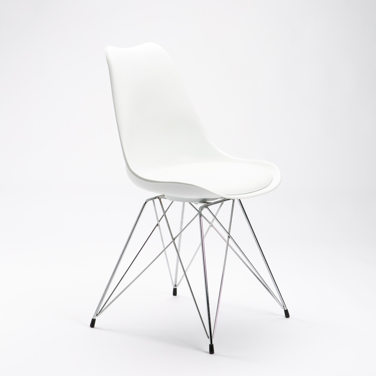 Emily Chrome Leg Dining Chair - White