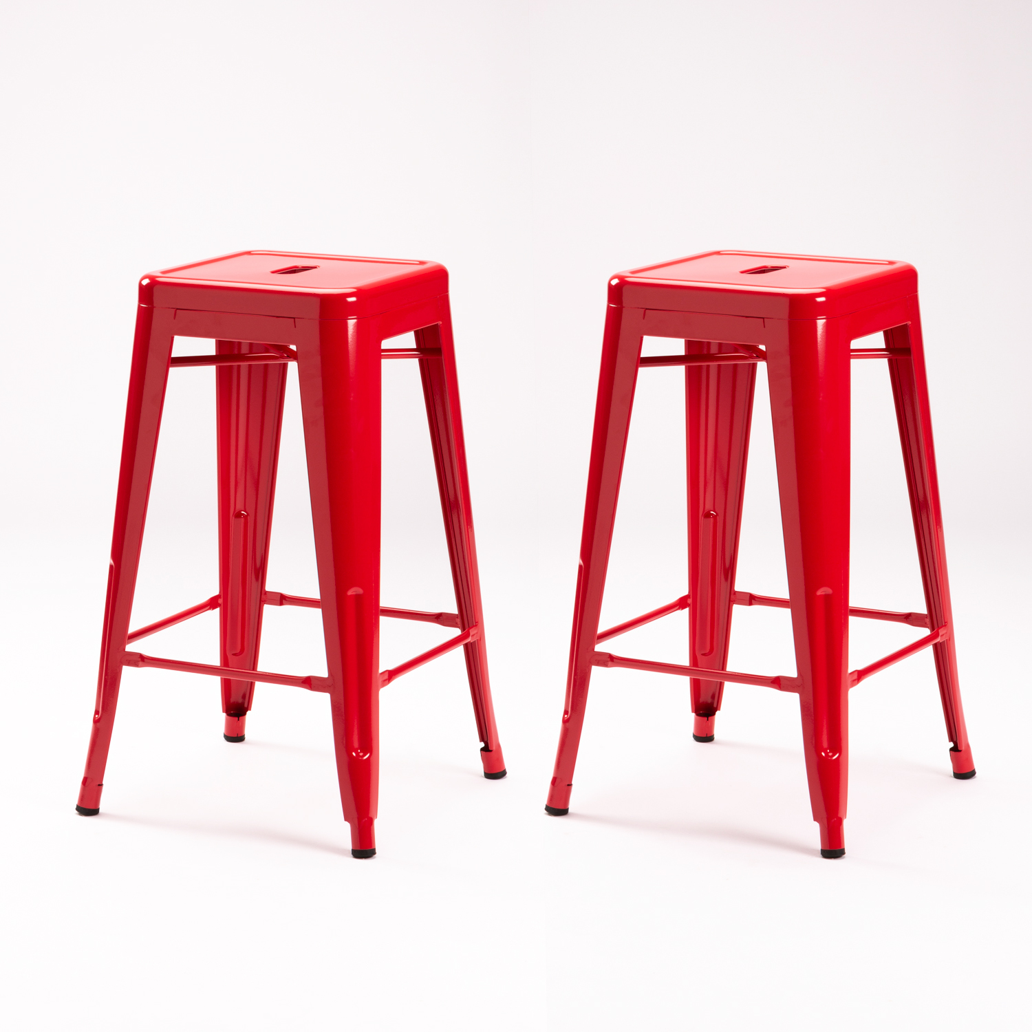 2 X TOLIX KITCHEN STOOL -RED