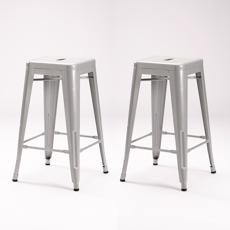 2 X TOLIX KITCHEN STOOL SILVER