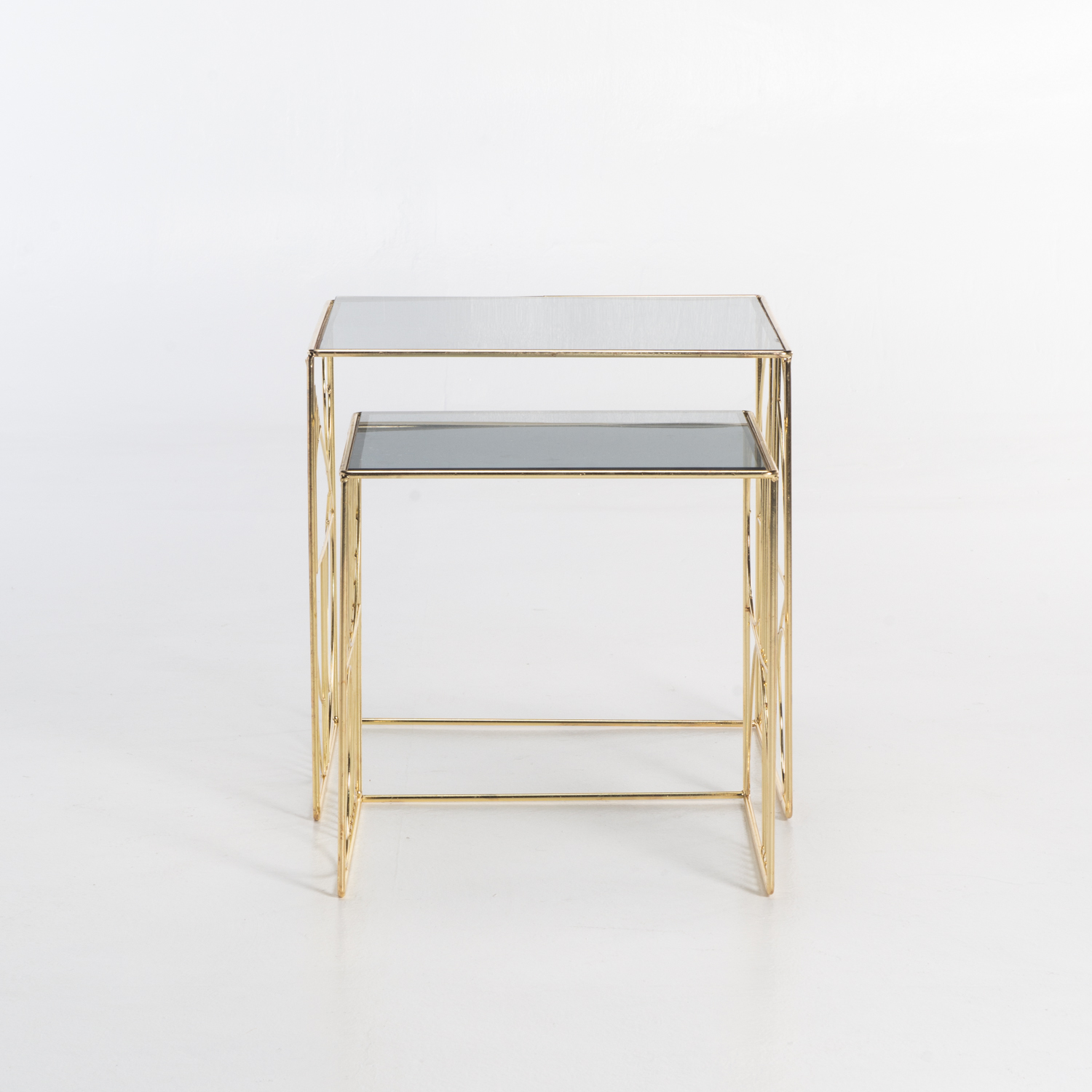 ARES SET OF 2 GLASS TOP TABLES