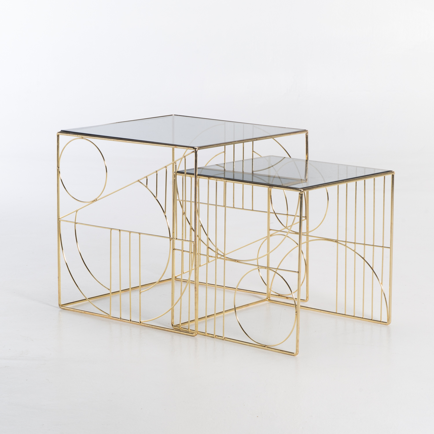 ARES SET OF 2 GLASS TOP TABLES - GOLD