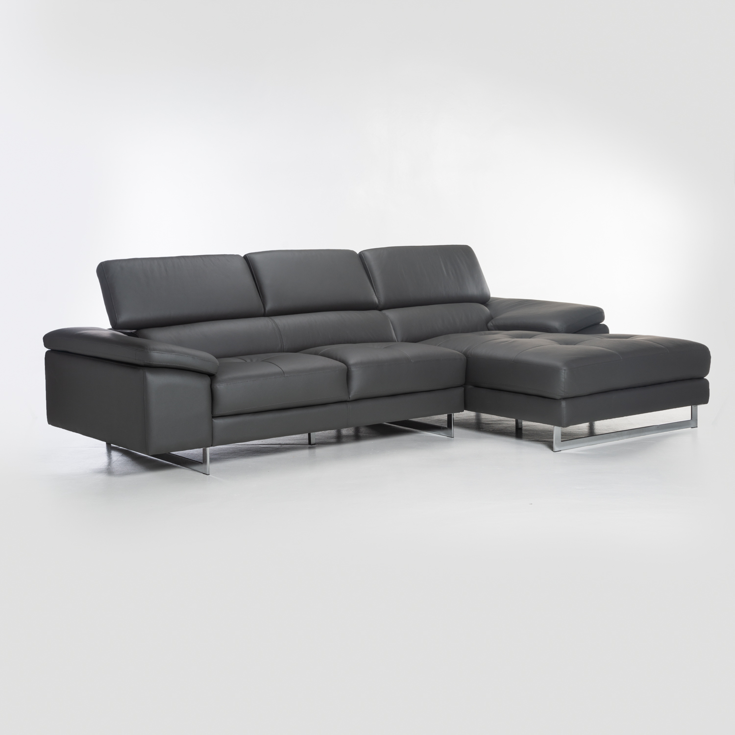 REMO TOP LEATHER UPP CORNER CHAISE-DARK GREY-RIGHT