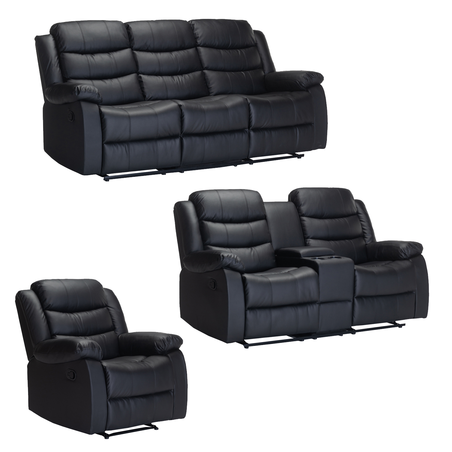 YUZI BONDED LEATHER 3 PC RECLINER SET WITH CONSOLE BLACK