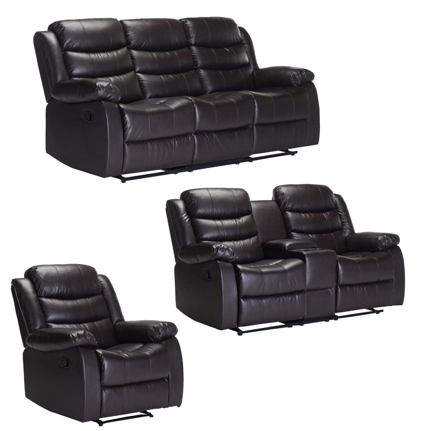 YUZI BONDED LEATHER UPPER 3PC SET BROWN WITH CONSOLE