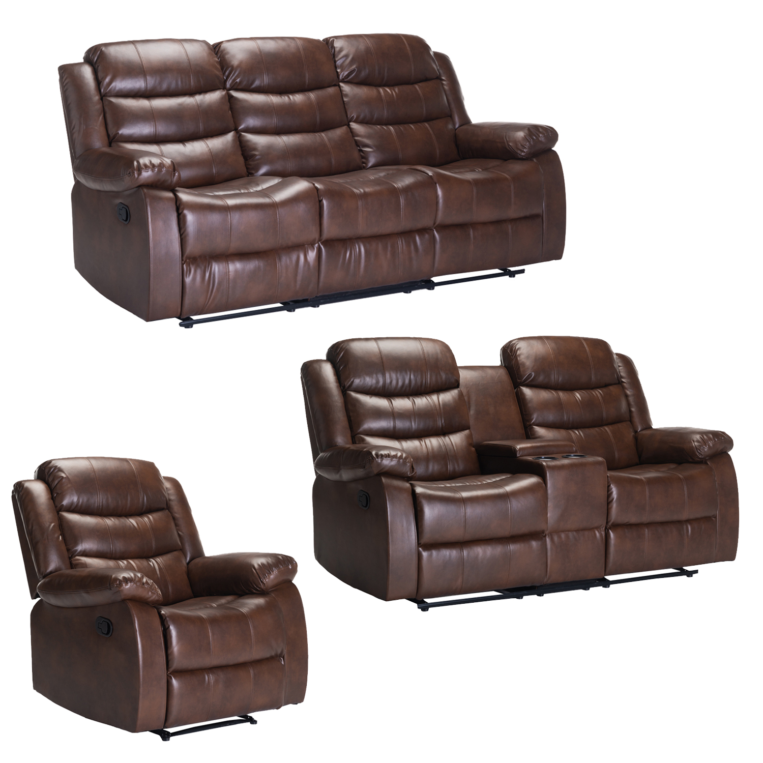 YUZI BONDED LEATHER UPPER 3PC SET WALNUT WITH CONSOLE