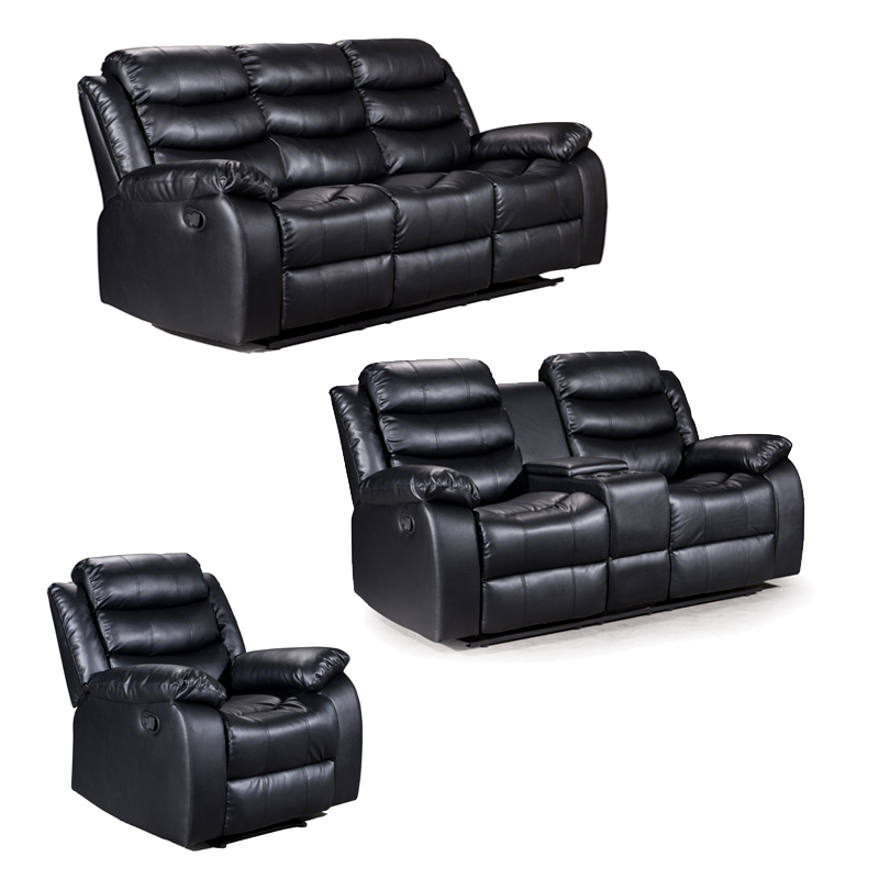 ZUKO 3 PIECE RECLINER SET WITH CONSOLE -BLACK