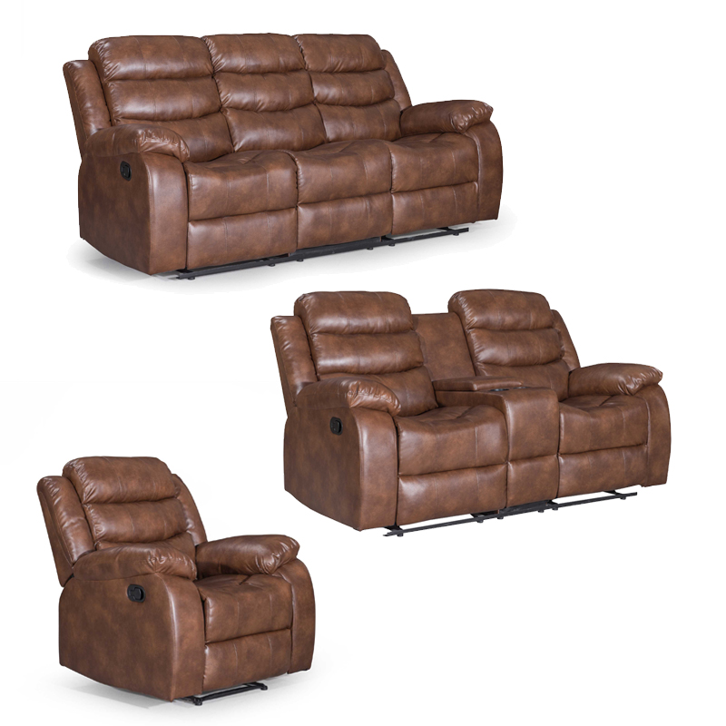 ZUKO 3 PIECE RECLINER SET WITH CONSOLE -WALNUT
