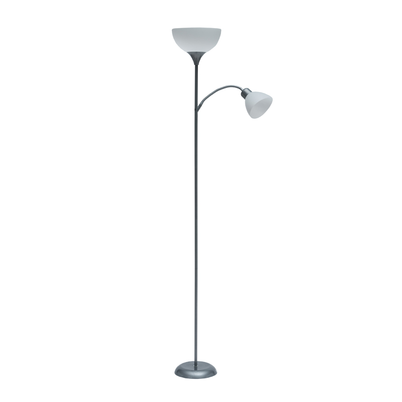 LAMP FLOOR-GREY METAL 2 WHITE SHADES 182cm H