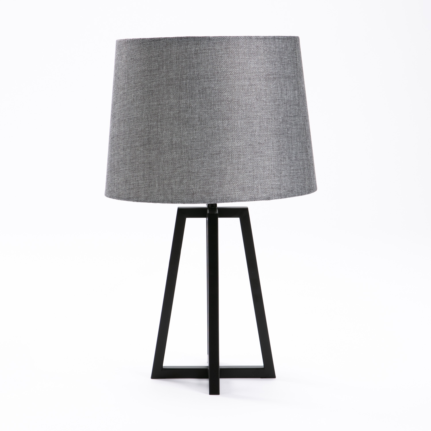 LAMP TABLE-BLACK METAL BASE-GREY FABRIC SHADE