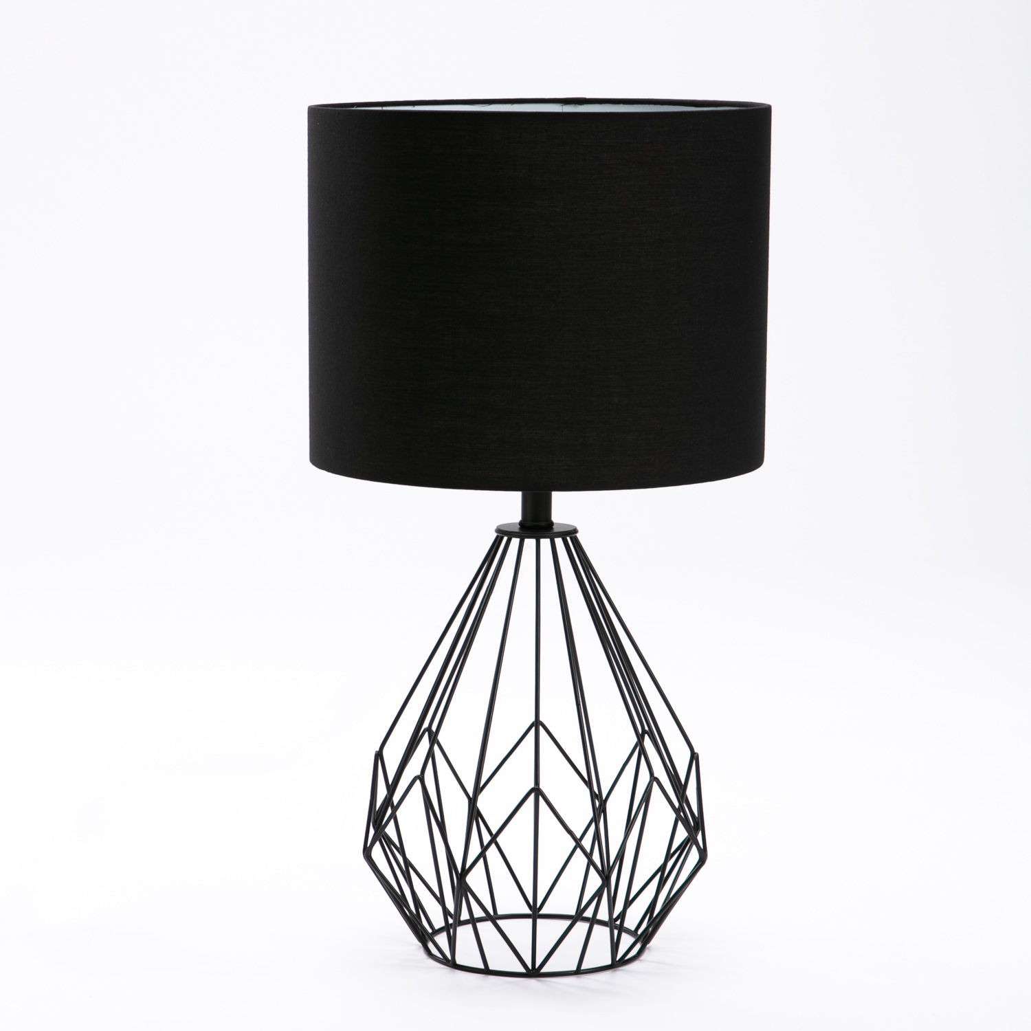 TABLE LAMP BLACK METAL WIRE BASE BLACK FABRIC SHADE