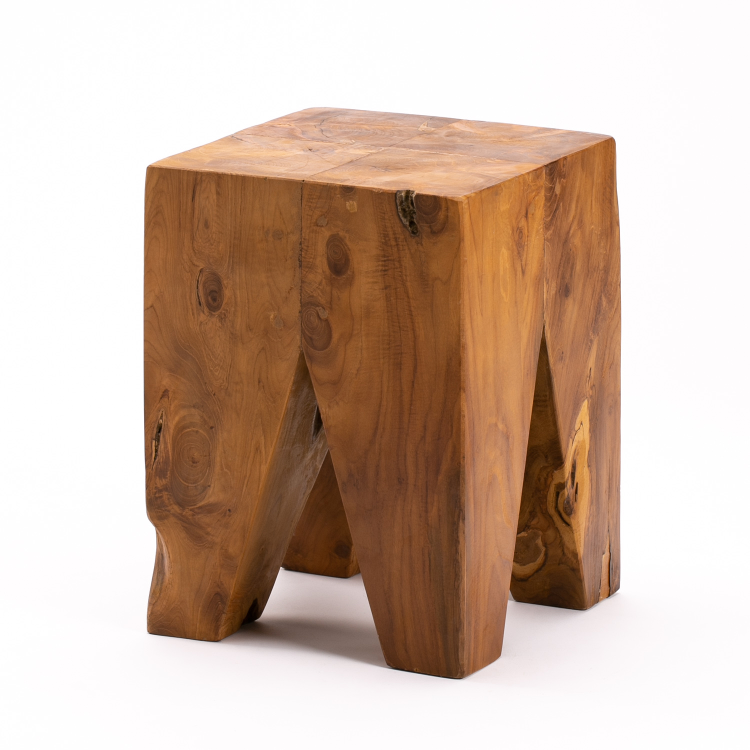 SOLID ROOT 30cm SQUARE STOOL 4 LEGS