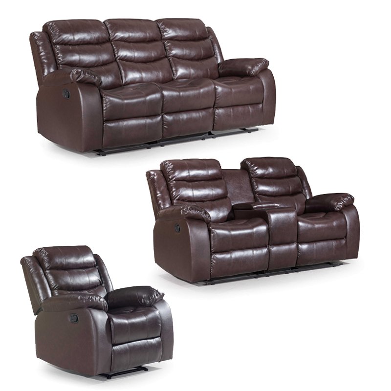 ZUKO 3 PIECE RECLINER SET WITH CONSOLE