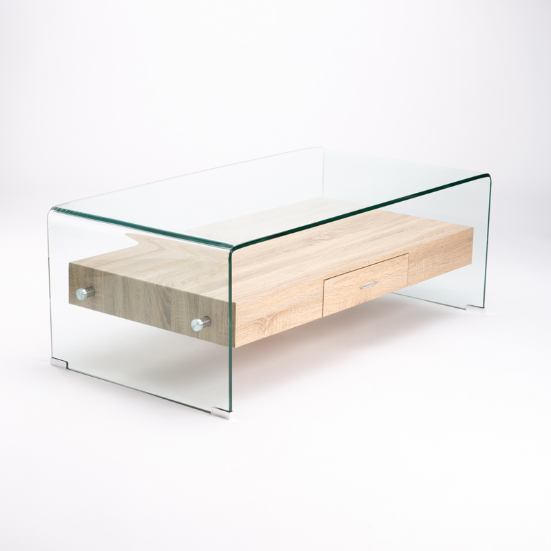 IVY  TEMPERED GLASS COFFEE TABLE WITH DRAWER