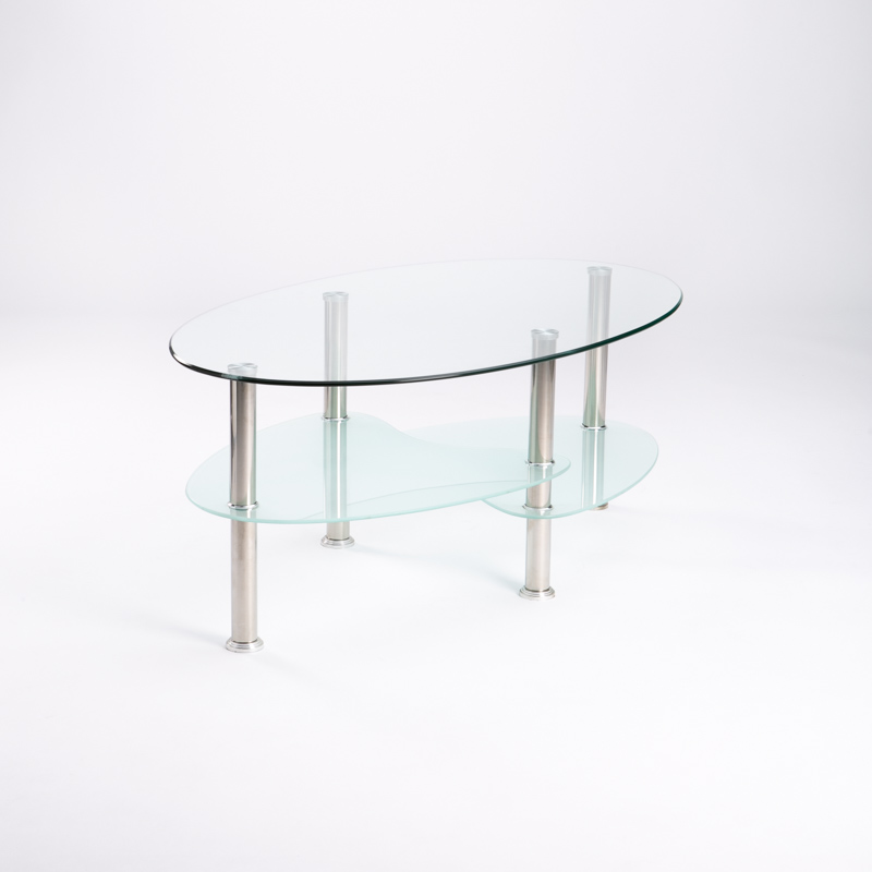 LIBI 90x50CM OVAL GLASS COFFEE TABLE