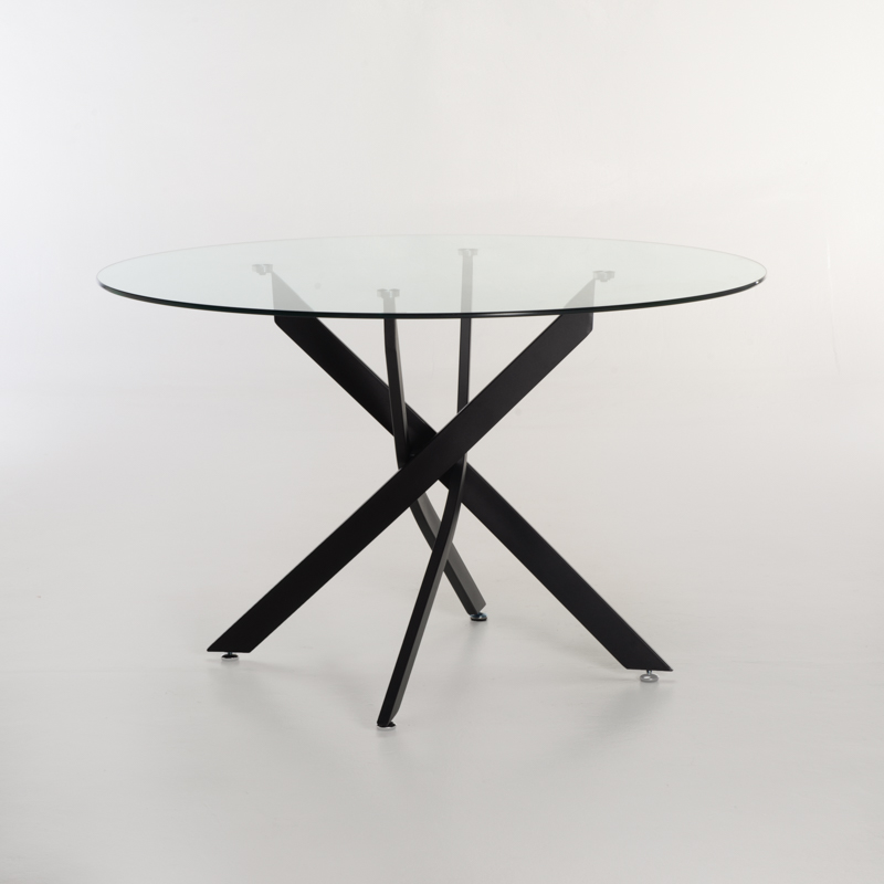 LEN 120cm ROUND GLASS TOP DINING TABLE