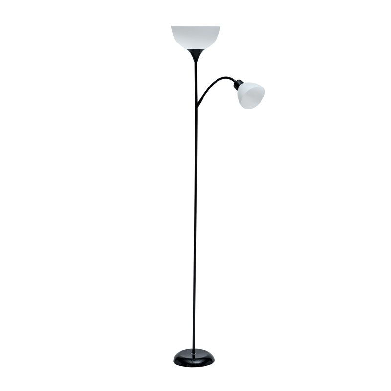 LAMP FLOOR-BLACK METAL 2 WHITE SHADES 182cm