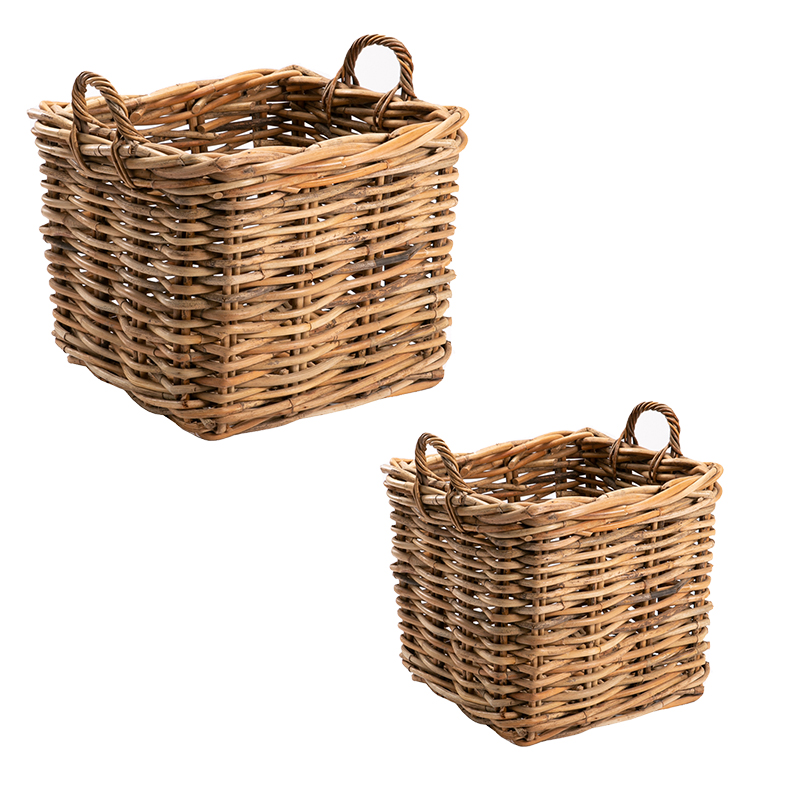 SET OF 2 GIANT SQUARE BASKETS - CL WEAVE