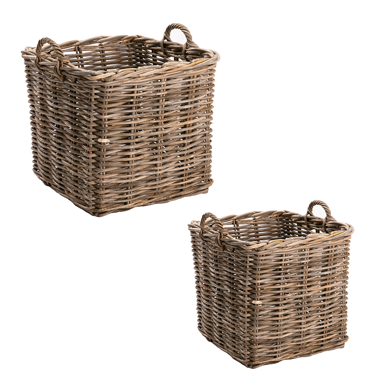 GIANT SQUARE BASKET SET OF 2 KUBU WEAVE