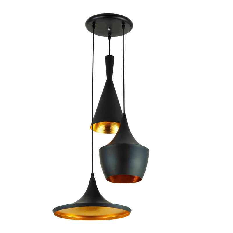 HANGING LIGHT-3-IN-1 DOMES-BLACK & GOLD