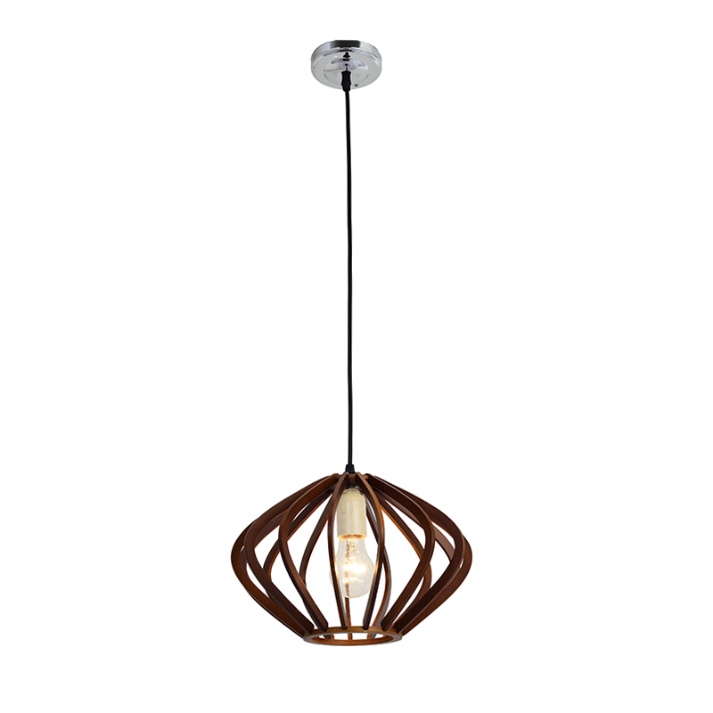HANGING LIGHT-WOODEN SLAT BURSTING DOME PENDANT
