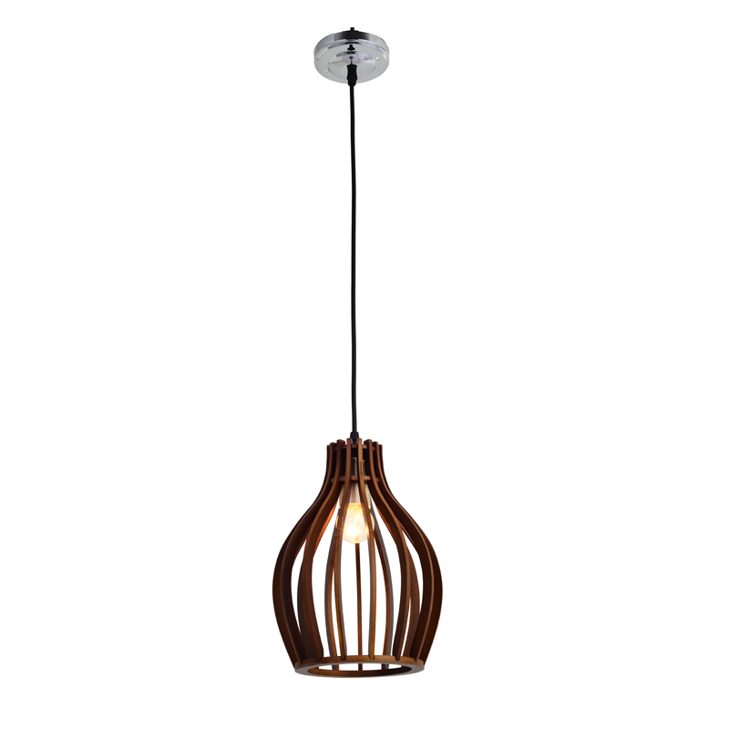 HANGING LIGHT-WOODEN SLAT DOME PENDANT