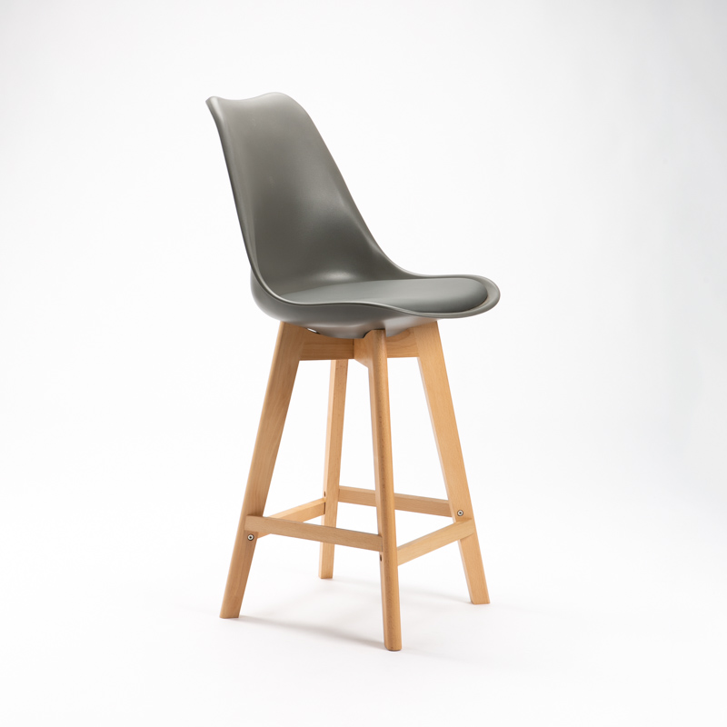 EVA WOODEN LEG KITCHEN STOOL - DARK GREY
