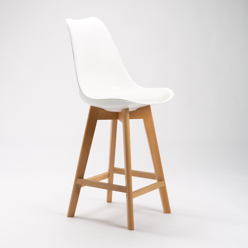 EVA WOODEN LEG KITCHEN STOOL - WHITE