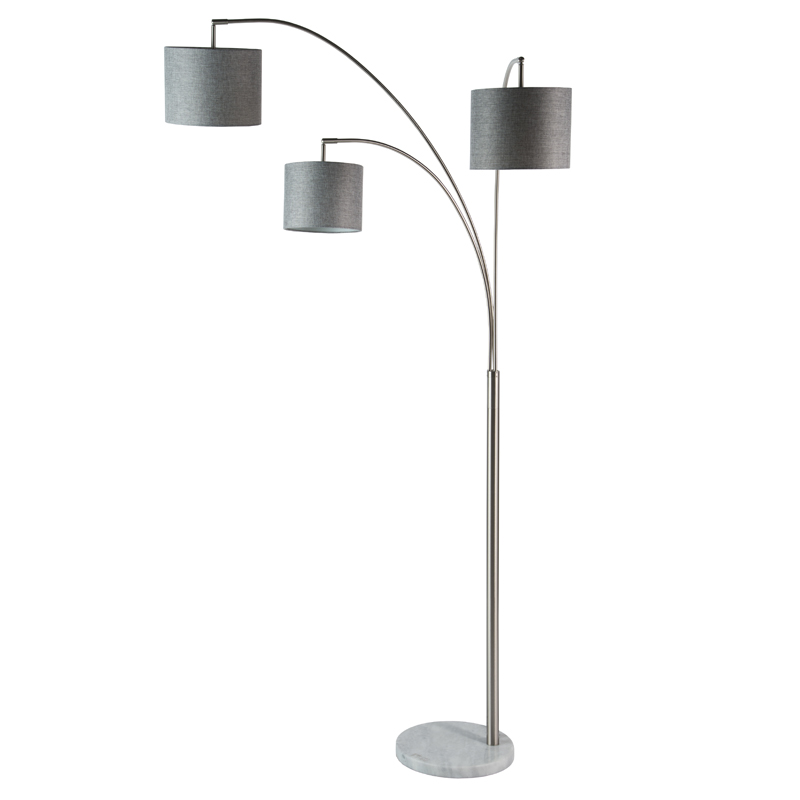 LAMP FLOOR-3 BRANCH ARC-GREY FABRIC SHADES 208cm H
