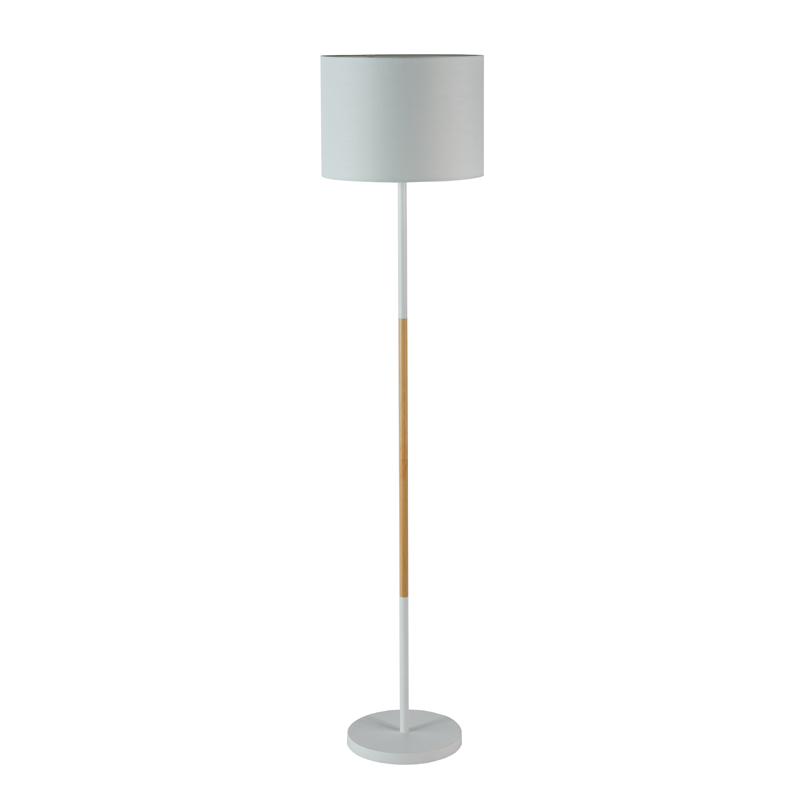 LAMP FLOOR-WHITE+WOOD-WHITE FABRIC SHADE 150cm H