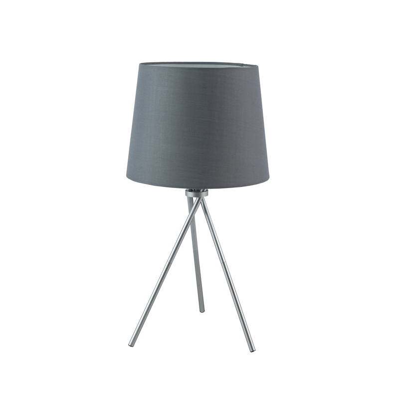 LAMP TABLE-METAL TRIPOD-GREY FABRIC SHADE