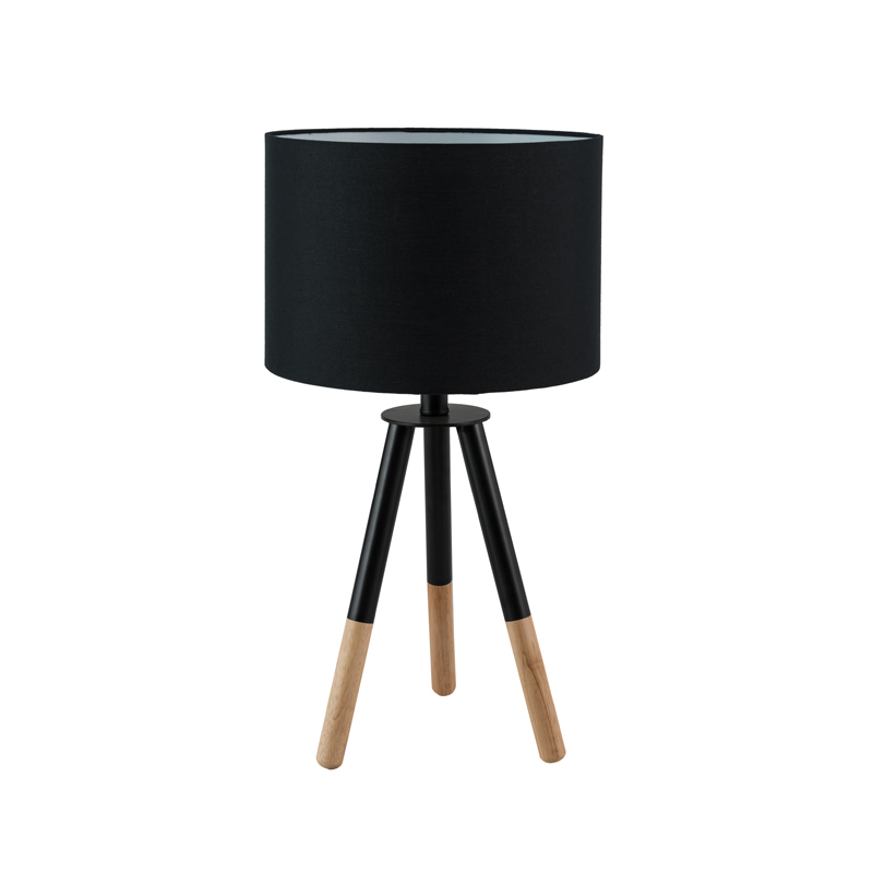 LAMP TABLE-WOODEN TRIPOD-BLACK FABRIC SHADE