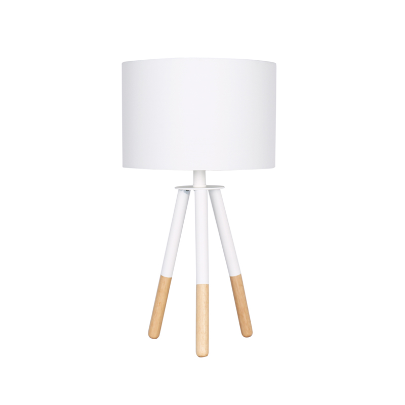 LAMP TABLE-WOODEN TRIPOD-WHITE FABRIC SHADE