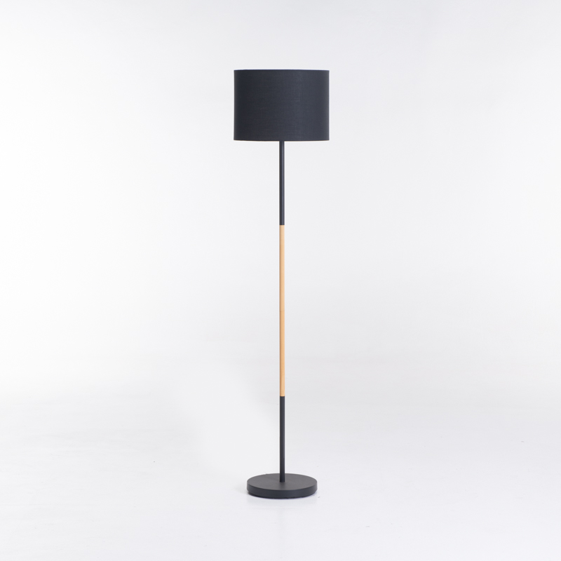 LAMP FLOOR-BLACK+WOOD-BLACK FABRIC SHADE 150cm H