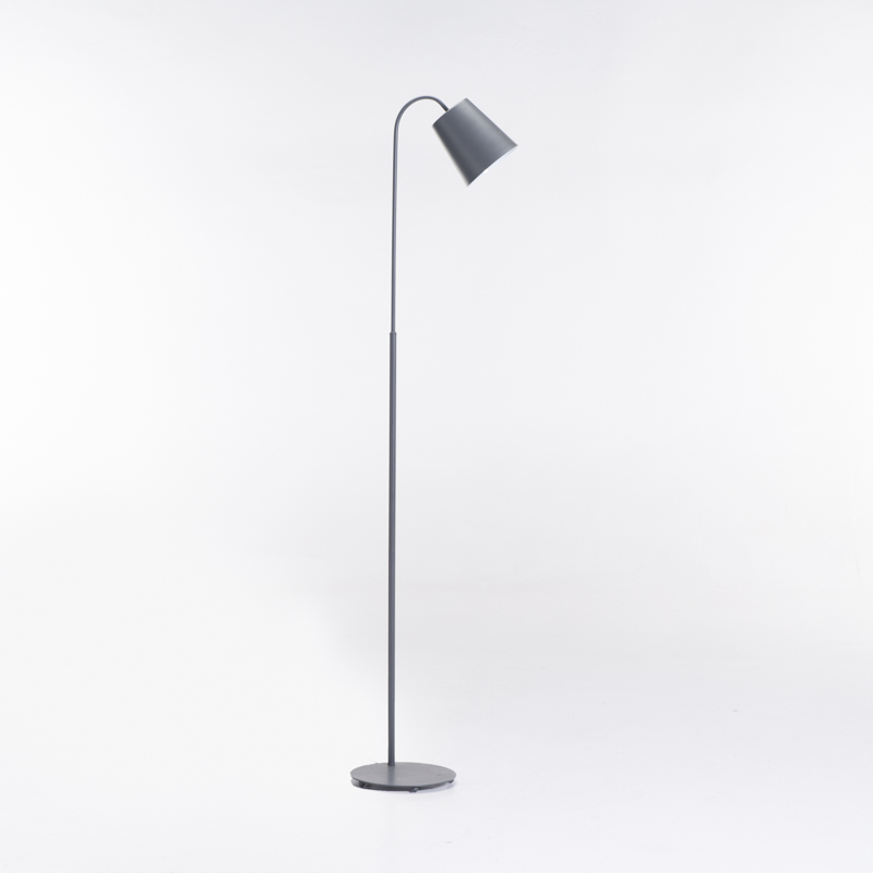 LAMP FLOOR-DARK GREY ARC-METAL DOME 145cm H