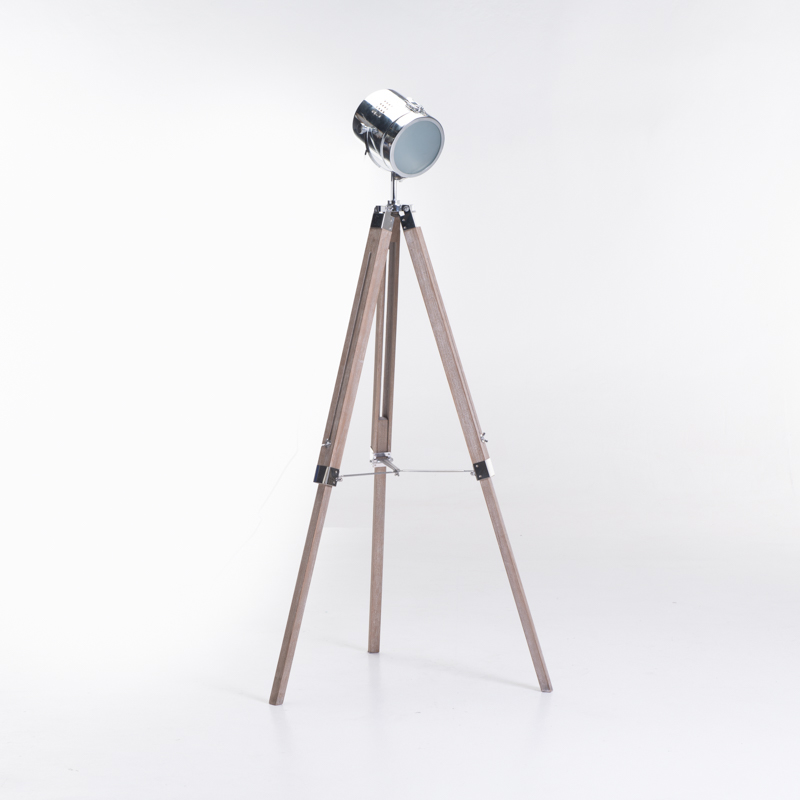 LAMP FLOOR-WOODEN TRIPOD-METAL SPOT SHADE 135cm H