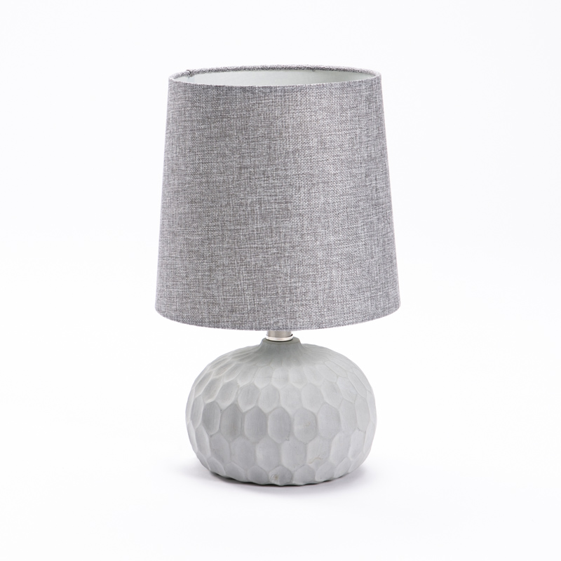 LAMP TABLE-INDENT CONCRETE BASE-GREY FABRIC SHADE