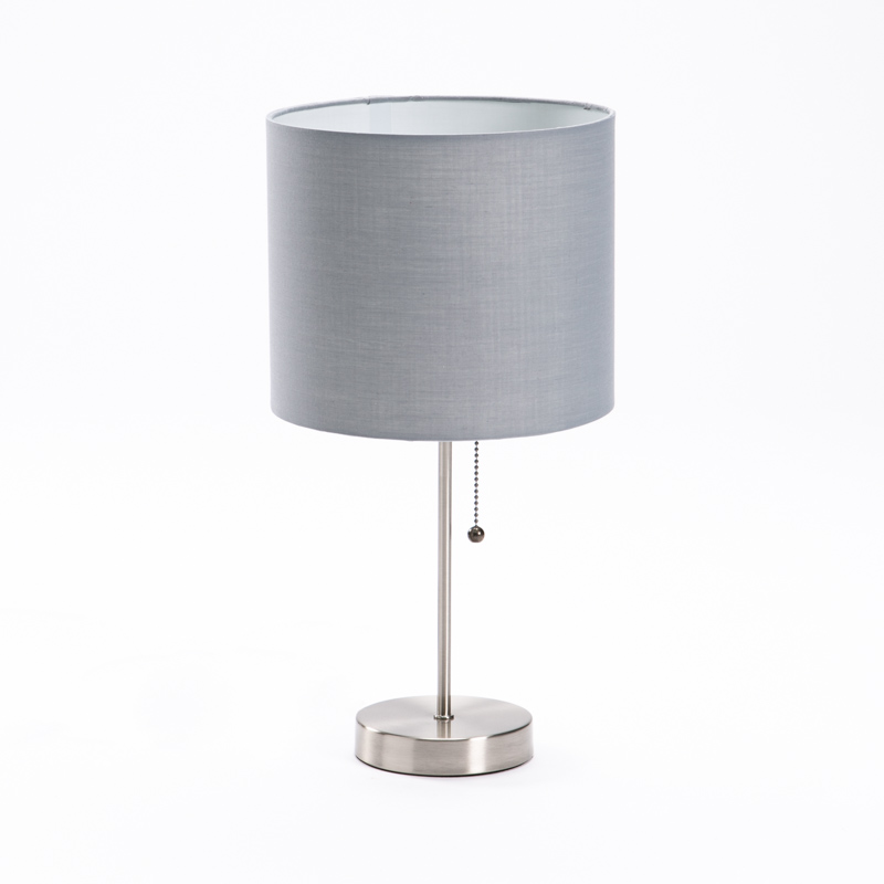 LAMP TABLE-METAL BASE-GREY FABRIC SHADE