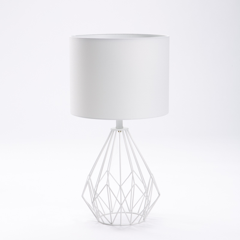 LAMP TABLE-WHITE METAL WIRE BASE-WHITE FABRIC SHADE