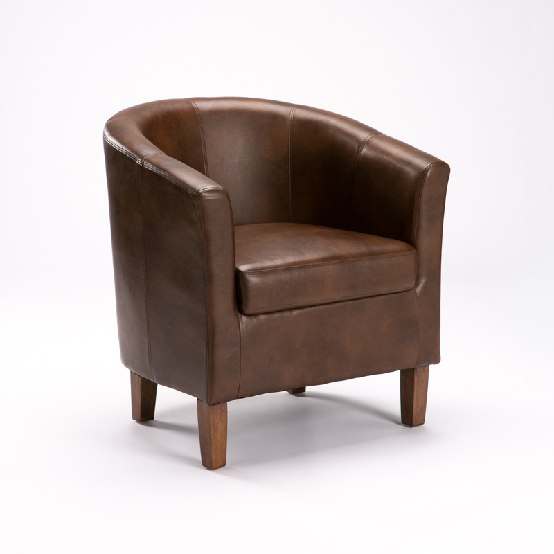 KELLY LEATHER TOUCH TUB ARMCHAIR
