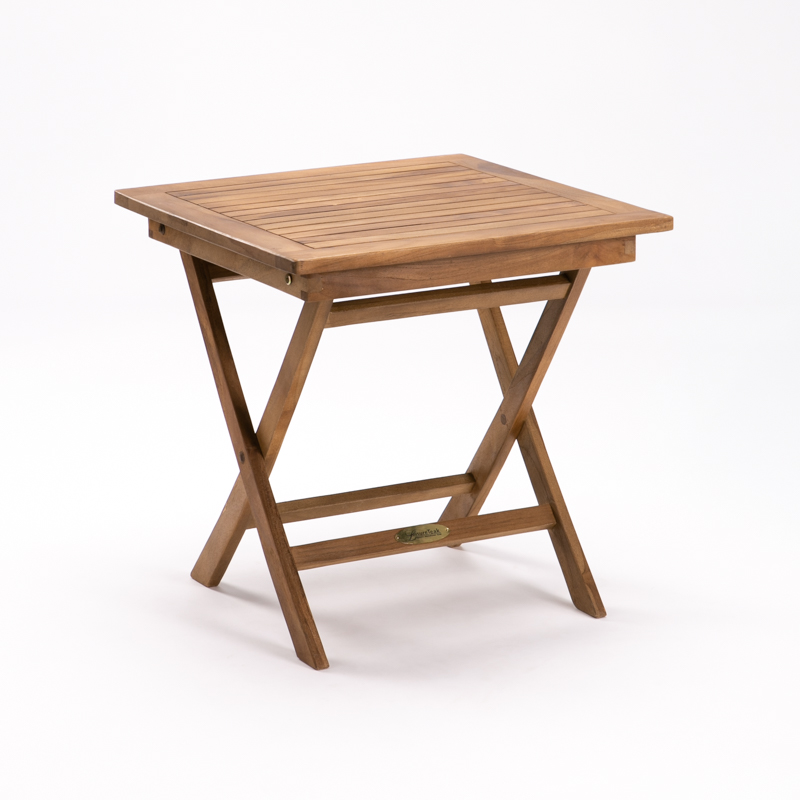 50cm SQUARE TEAK FOLDING SIDE TABLE