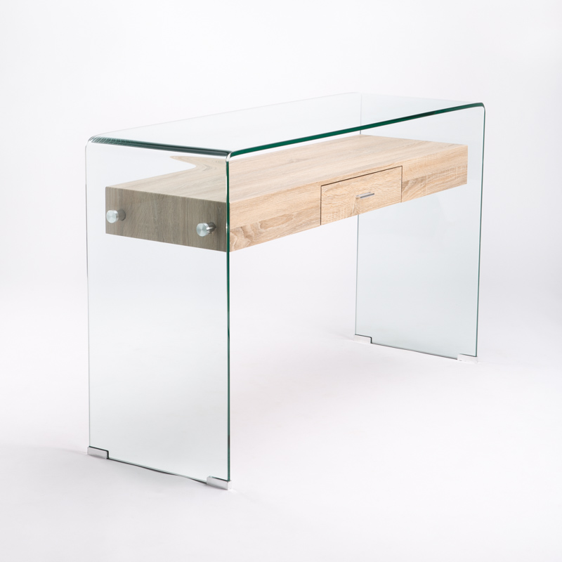 IVY 125X40CM 12MM TEMPERED GLASS CONSOLE WITH DRAWER