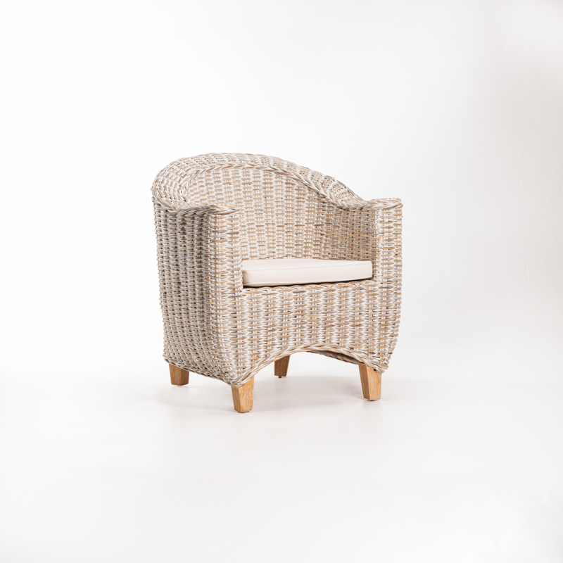 TEGAL KUBU WHITEWASH TUB ARMCHAIR